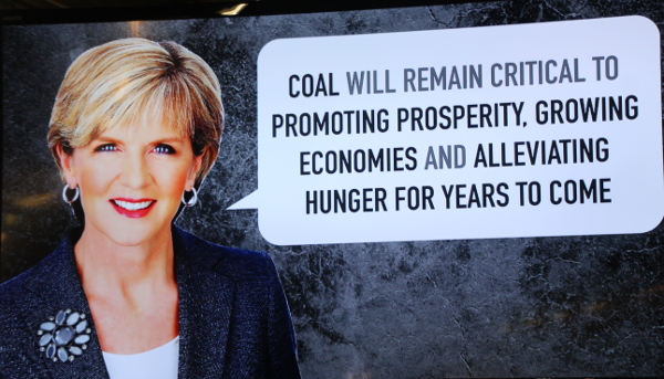 Julie Bishop statement on coal made at COP21 forum on Sustainability