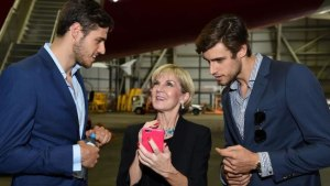 Foreign Minister Julie Bishop speaks with Australian Models Jordan and Zac Stenmark at the launch of the G'Day USA program in Sydney. Picture: AAP/Dan Himbrechts