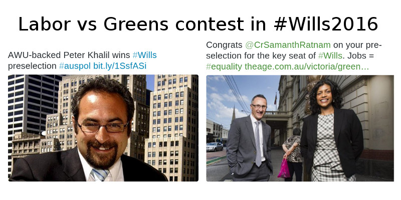 Greens and ALP preselect candidates for #Wills2016 #Ausvotes reports @takvera
