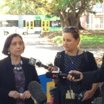 Energy and Climate Minister Lily D'Ambrosio announcing Melbourne's tram network to go solar. Photo courtesy Leigh Ewbank/twitter