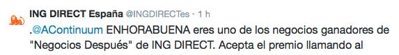 """Negocio ganador """"Negocios Después"""" de ING Direct"""
