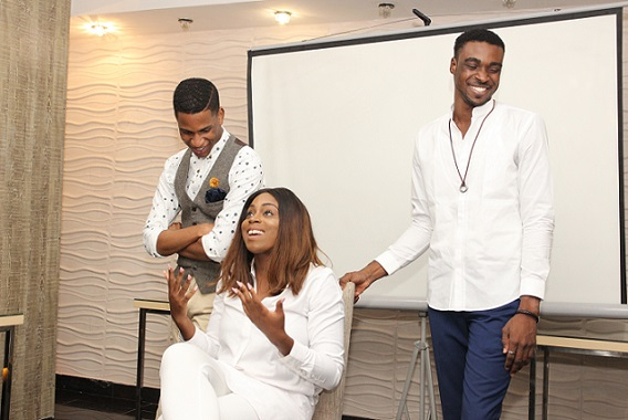 #eXploring hosts, Denola, Zina and Biodun at the formal launch of the show