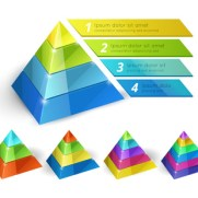 Vector pyramid chart isometric 3d templates with options for infographics and presentations