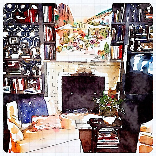 Interior Design Waterlogue Image by Jena Salmon