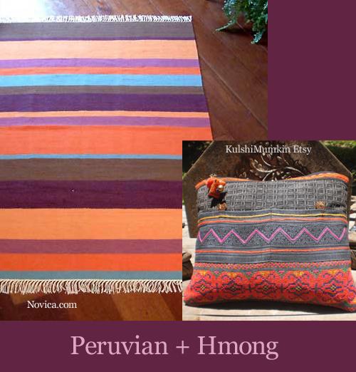 Peruvian Rug and Hmong Cushion