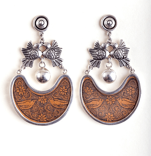 Earrings Made in Peru with Carved Gourd