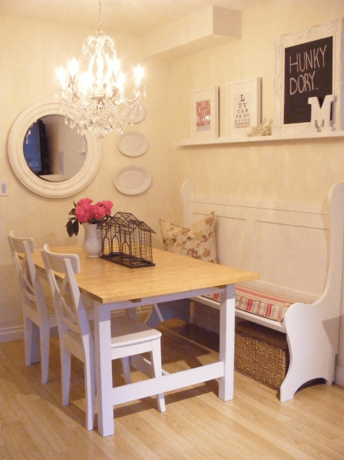 Cottage Country Dining Room with Church Pew via Houzz