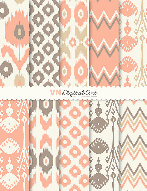 Ikat Scrapbook Paper Pack from VNDigital Art Etsy Shop