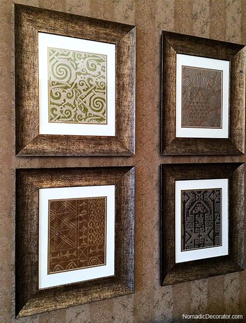 Four Framed Fortuny Fabrics