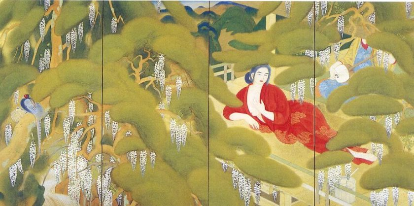Woman at a Spa / Bakusen Tsuchida Painting of Kyoto School