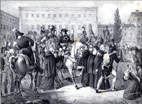 L'ingresso, nel 1805, di Napoleone a Bologna in un'illustrazione ottocentesca