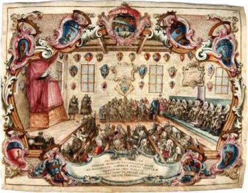 Prima-lezione-pubblica-di-Laura-Bassi-in-Archiginnasio-il-29-ottobre-1732-©-Archivio-di-Stato-di-Bologna