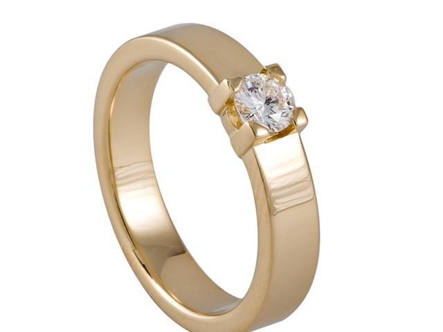 14 krt Witgouden ring gezet met een 0.50 ct TW VVS briljant geslepen diamant