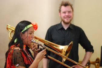 The members of the Palmarito choir also play violin or cello, and some started learning to play brass instruments. Having played trombone only one year, this girl already makes a great sound on Johan's bass trombone.