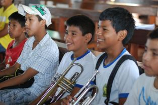 Trumpet students of San Fransisco orchestra in San Ignacio