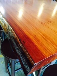 Live-edge redwood table.