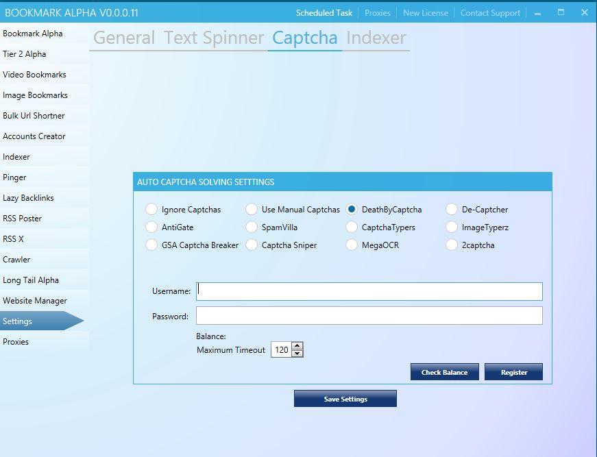 Bookmark Alpha Captcha settings