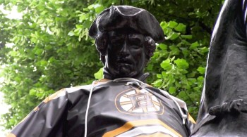 Paul Revere showing his Bruins pride during their 2013 playoff run. (NEWF Photo)