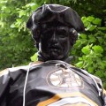 paul revere statue prado with boston bruins shirt