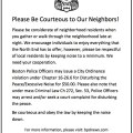 Be Courteous to Your Neighbors - BPD District A-1 Flyer