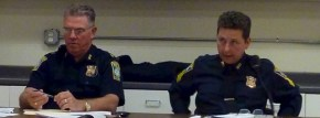 L to R: Area A-1 Boston Police Captain Bernard ORourke and Sgt. Thomas Lema at the October North End Public Safety Meeting. (NorthEndWaterfront.com photo)