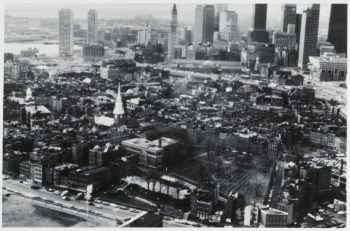 "North End Aerial 1976 Photo by Rick Zonghi for ""Boston's First Neighborhood"" by Paula Todisco (via Boston Public Library)"