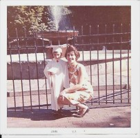 Prado Fountain with Fence - Mark Petrigno &amp; Mom (Photo contributed by Mark Petrigno)