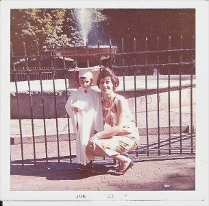 Prado Fountain with Fence - Mark Petrigno & Mom (Photo contributed by Mark Petrigno)
