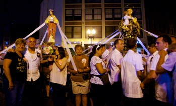 St Lucy and St Anthony Meet on North Washington St - August 2012 by Matt Conti
