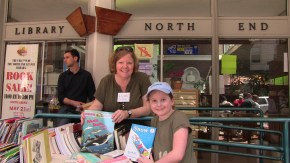 Friends of the NE Branch Library, Robin Ardito, and Oliva at the 2011 Book Sale