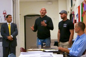 From left, Attorney Daniel Toscano, Cross-Fit&#039;s Mike Bradley and Neil Thompson with 133 Salem St. owner David Crocini