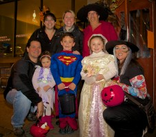Families trick or treating on Salem Street