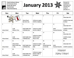 January North End Library Calendar