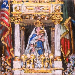 Madonna del Soccorso statue carried during the Fisherman's Feast. Painting by Artist Michael Dean.