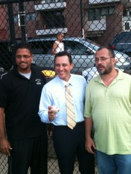 From left, Giovanni Chevere (South End Coach), Rep. Aaron Michlewitz and Al Vilar (North End Coach)