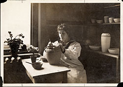 Sara Galner working at the Paul Revere Pottery, circa 1914. Photography courtesy of Betty Revis, Sara Galner Bloom's daughter.