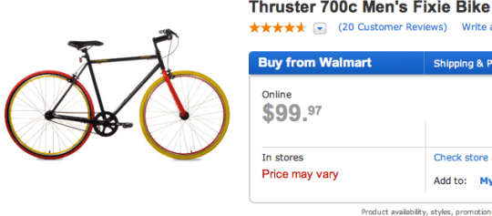 walmart fixie Walmarts $99 Fixie Bicycle
