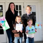 """Team J Moms"" Jenelle Walker & daughter Jessa (l), & Jasmine Borgatti & daughter Madison (r), show some of the artwork used to create tiles for the Mt. Shasta Elementary Student Art Tile Wall Project."