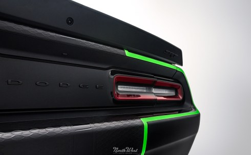 Dodge-Challenger-SRT-Hellcat-new-car-detail-ceramic-pro-custom-neon-green-stripes-rear-qtr-close