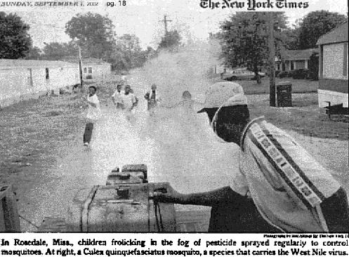 Children in Mississippi sprayed pesticides West Nile virus