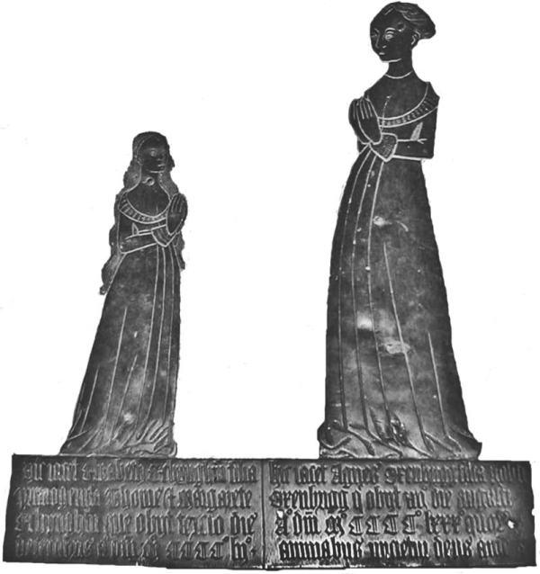 Memorial brass to Elizabeth Etchingham and Agnes Oxenbridge, Etchingham, East Sussex, c. 1480 (Medievalists.net)