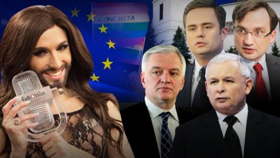 Conchita Wurst and Polish right-wing politicians: (from top-left) Adam Hoffman, Zbigniew Ziobro, Jarosław Gowin & Jarosław Kaczyński. (Image: tvn24.pl)
