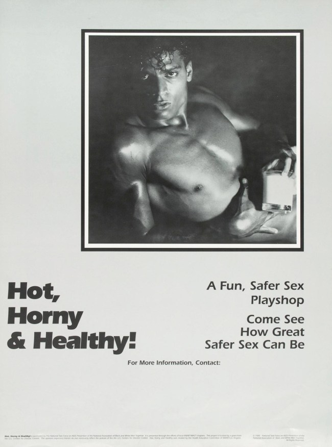 One in a series of posters produced by the Black Gay and Lesbian Leadership Forum and the National Task Force on AIDS Prevention to encourage safer sex among Black gay men. (Source: University of Rochester, Rare Books and Special Collections)