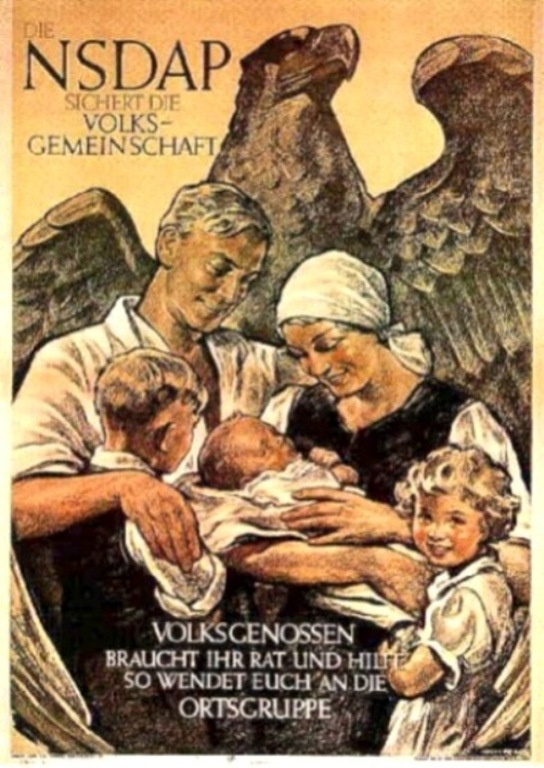 """An undated Nazi campaign poster, """"The NSDAP protects the Volksgemeinschaft."""" (Via Wikimedia Commons.)"""