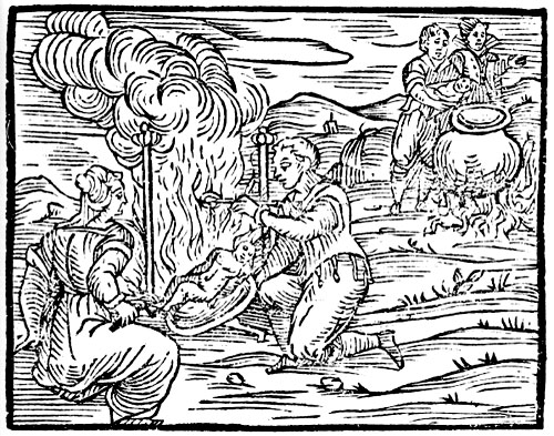 Francesco Guazzo, Compendium Maleficarum (1608). In the bottom left, the witches are roasting a child while in the top right they are preparing to boil an infant.