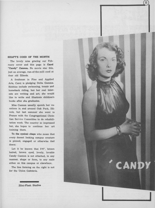 "Carol ""Candy"" Cannon, Shaft's Coed of the Month, February 1948"