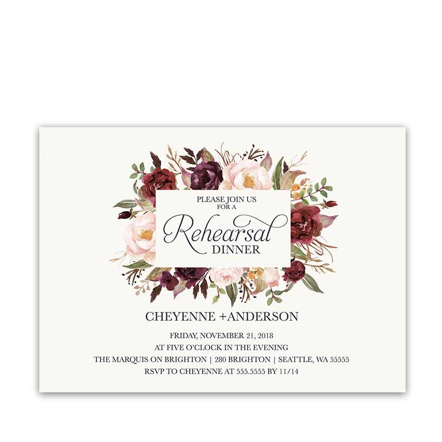 rehearsal dinner invitations custom designed for weddings wedding rehearsal dinner invitations Floral Wedding Rehearsal Dinner Invitations Burgundy Wine