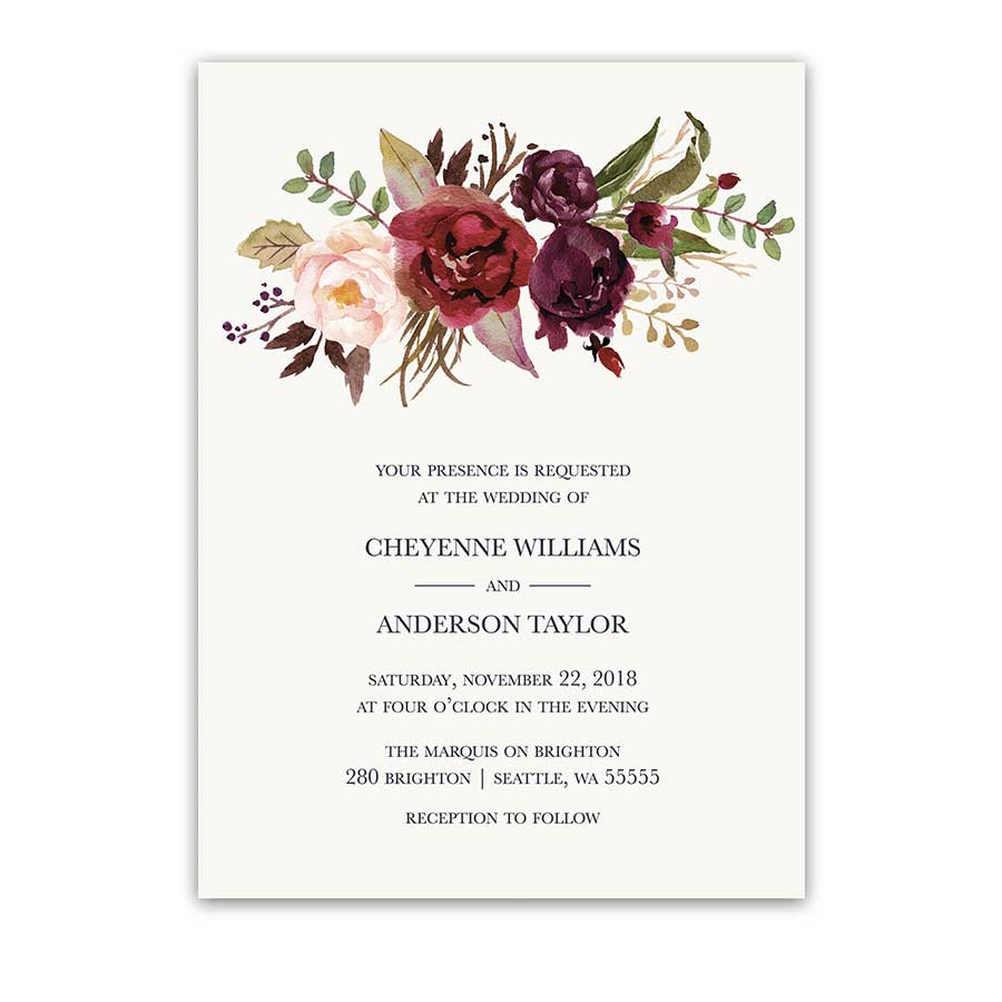 floral watercolor wedding invitations burgundy wine floral wedding invitations