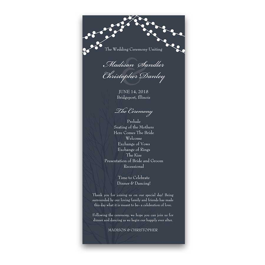 Considerable Rustic String Lights Wedding Ceremony Programs Navy Blue Rustic Design Wedding Ceremony Order Non Religious Wedding Ceremony Order Catholic Monogram Navy Blue Wedding Invitations wedding Wedding Ceremony Order