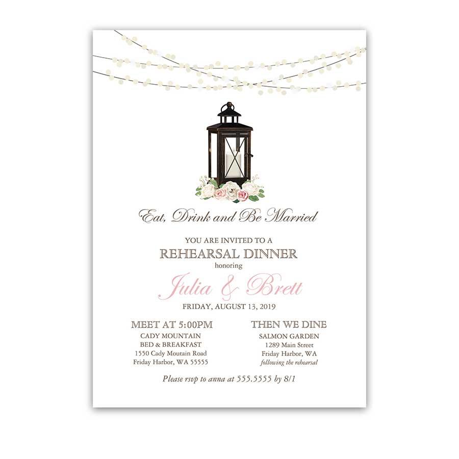 rehearsal dinner invitations custom designed for weddings wedding rehearsal dinner invitations Rustic Rehearsal Dinner Invitation Lantern with Blush Peonies